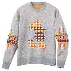 ストレッチ・ウール混ニットセーター ジャカード編み仕立てのミッキーマウスがポイント