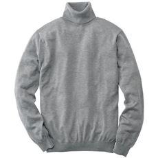 洗える・ウール混ストレッチニット素材のタートルネックセーター