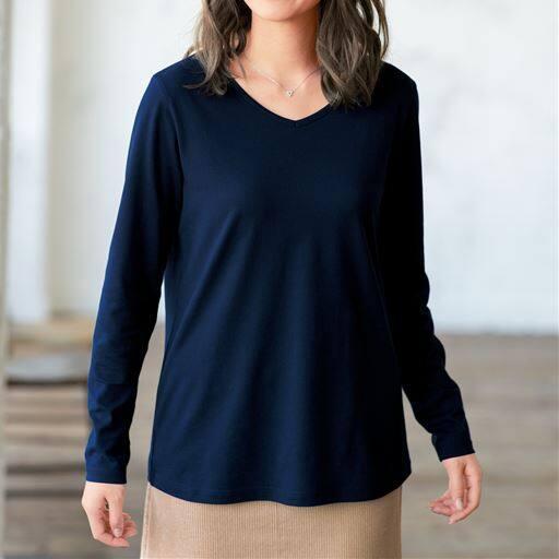 シンプルVネックTシャツ(長袖・綿100%・L~10L)