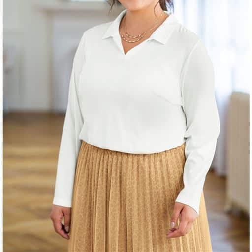 テンセル™繊維・綿 スキッパー衿プルオーバー■グラマー用サイズ有(胸のサイズで選べる)■