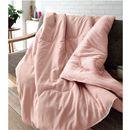 綿フラノ&タオル生地のリバーシブル毛布 ■カラー:ピンク ブラウン ■サイズ:シングル(140×200cm)の小イメージ