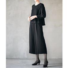 ブラックフォーマル セットアップスーツ(ブラウス+ガウチョパンツ)(手洗いOK)