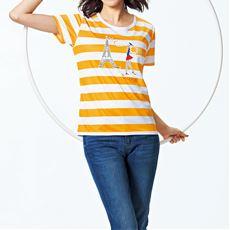 ボーダーTシャツ(ELLE SPORT)(吸汗速乾・UVカット)