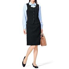 オフィスベストスーツ(ベスト+スカート)(洗濯機OK、撥水、防汚加工、形態安定、ストレッチ素材)(事務服)