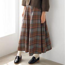 綿混ネル素材のチェック柄ギャザースカート