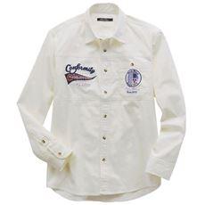刺繍使い切替デザインシャツ