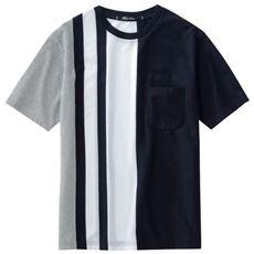 大胆ストライプ柄の吸汗・速乾素材Tシャツ