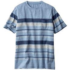 メランジ調ボーダー柄のクルーネックTシャツ(吸汗・速乾仕上げです)