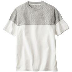 ニットX鹿の子カットソー切替デザインのTシャツ