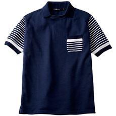 ドライ・衿付きニット切替デザインポロシャツ