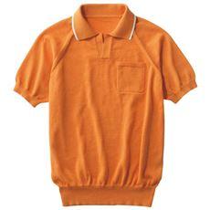 ニット素材スキッパーポロシャツ。家で洗える!!しかも、乾きも早い!!