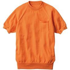 シンプルで上品なニット素材Tシャツ (ウォッシャブルで吸汗・速乾)