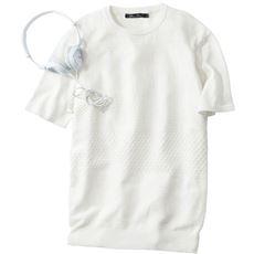 綿100%総柄ニットの半袖Tシャツ。ご家庭で洗えるのが◎