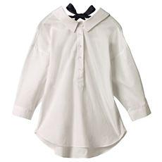 なめらかバックリボンワイドシャツ(リボン取り外し可)