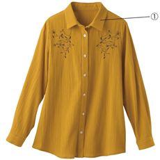 さらさら楊柳刺しゅうシャツ(綿100%)