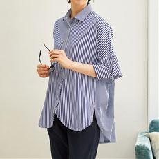 切り替えストライプドルマンシャツ/腰まわりを隠すチュニック丈