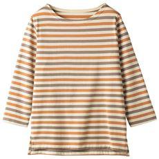 ボートネックボーダーTシャツ(七分袖)(洗濯機OK・綿混天竺素材)