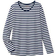 【ぽっちゃりさんサイズ】シンプルVネックTシャツ(長袖・綿100%)