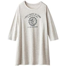 プリント7分袖ロングフレアTシャツ(洗濯機OK)