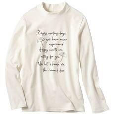 ハイネックプリントTシャツ(綿100%・洗濯機OK)