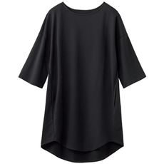 ラウンドヘムゆったりチュニック(洗濯機OK)/ミニ裏毛 両サイドポケット 綿100%