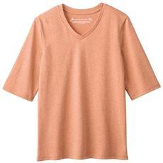 シンプルVネックTシャツ(5分袖)(洗濯機OK)