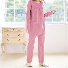 胸ギャザーのドット柄パジャマ(綿100%)