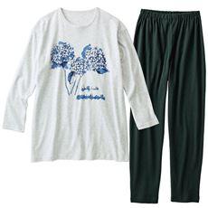 線画調フラワープリントパジャマ(綿100%)