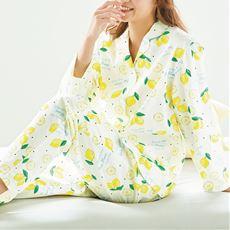冷房対策にも!爽やかプリント長袖シャツパジャマ(綿100%)