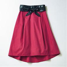 ベルト付きAラインスカート