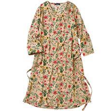 ベルト付き花柄プリントロングシャツ