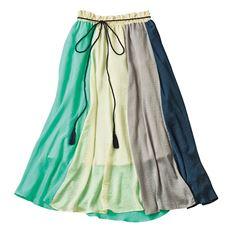 タッセルベルト付きカラーブロックスカート