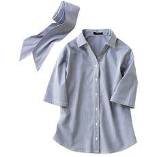 共地リボンベルト付き3WAYシャツ