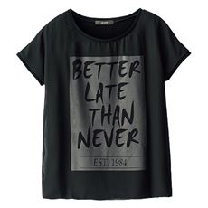 シフォン重ねロゴプリントTシャツ