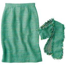 リボンベルト付きツイードタイトスカート