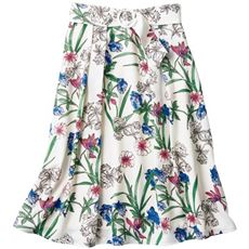 花柄タックフレアスカート