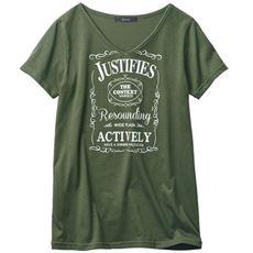 VネックプリントTシャツ
