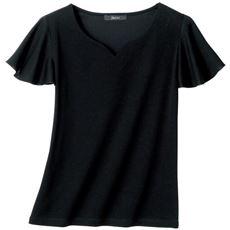 ハートネック袖フリルTシャツ