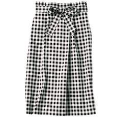 共地ベルト付きラップ風ギンガムスカート