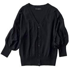 袖透かし編みニットカーディガン