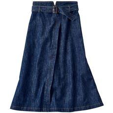 ベルト付きデニムスカート