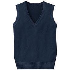 年間使いやすい綿100% Vネックニットベスト(スクール・制服)
