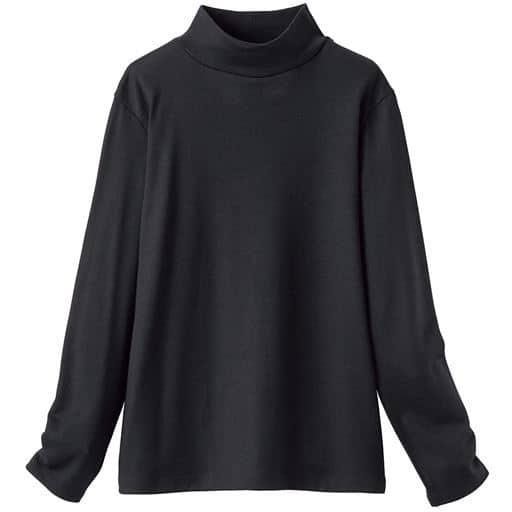 30%OFF! 【レディース】 ウォッシャブルウール ハイネックカットソー(日本製・ウール100%・洗濯機OK) - セシール ■カラー:ブラック ■サイズ:3L