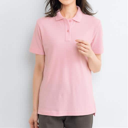 【レディース】UVカットポロシャツ(半袖)(S-5L) ■カラー:パウダーピンク ■サイズ:S、L、3L、4L-5L、LL、M