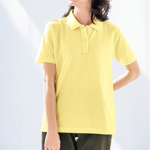 【レディース】UVカットポロシャツ(半袖)(S-5L) ■カラー:クリームイエロー ■サイズ:4L-5L、3L、L、LL、S、M、4L-5L