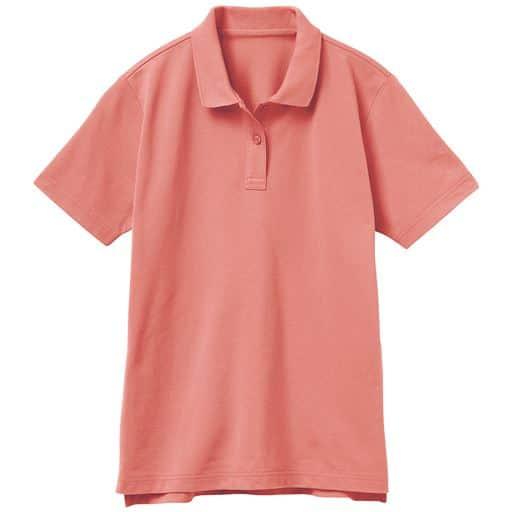 【レディース】UVカットポロシャツ(半袖)(S-5L) ■カラー:ピーチオレンジ ■サイズ:3L、LL、S、L、M、4L-5L
