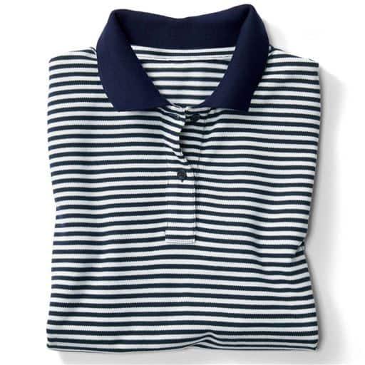 【レディース】 UVカットポロシャツ(半袖)(S-5L・洗濯機OK) ■カラー:ネイビー×ホワイト ■サイズ:S,LL,3L,4L-5L