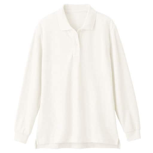 【レディース】UVカットポロシャツ(長袖)(S-5L) ■カラー:ホワイト ■サイズ:LL、M、3L、S、L、4L-5L、4L-5L