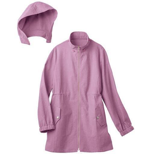40%OFF【レディース】 フード付きジップアップジャケット(UVカット・洗濯機OK・袖口ゴム) - セシール ■カラー:ネイビー ■サイズ:LL,3L