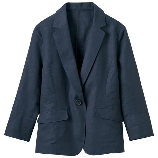 【レディース】丈が選べるフレンチリネン混 テーラードジャケット(手洗いOK・選べる2レングス) ■カラー:ネイビーA(ショート丈) ■サイズ:LL、3L、M、L